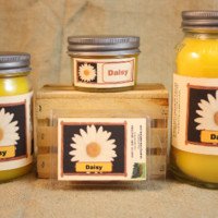 Daisy Flower Scented Candle,  Daisy Flower Scented Wax Tarts, 26 oz, 12 oz, 4 oz Jar Candles or 3.5  Clam Shell Wax Melts