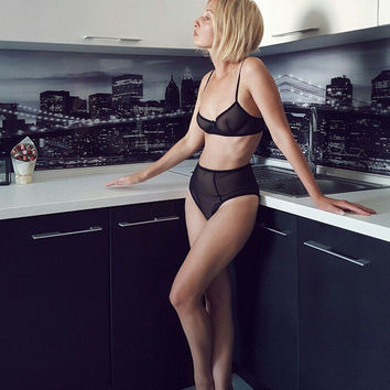 Black Lingerie Set / Lingerie / Black Mesh Lingerie / Sexy lingerie / see through lingerie / Underwear