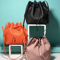 Drawstring Detail PU Bucket Bag