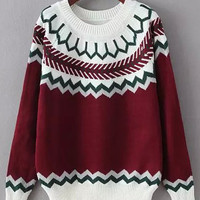 Red and White Geometric Print Sweater