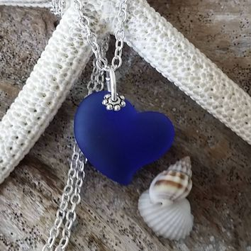 Handmade in Hawaii, Personalizable, Cobalt Blue Heart sea glass necklace, sterling silver chain,  Mother's Day Gift