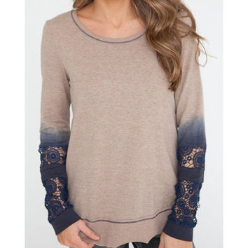 Trendy Scoop Neck Long Sleeve Tie-Dyeing T-Shirt For Women