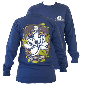 Southern Couture Preppy Magnolia Flower Comfort Colors Navy Girlie Long Sleeve Bright T Shirt