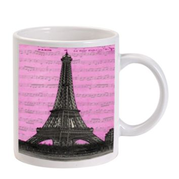 Gift Mugs | Music Note Eiffel Tower Ceramic Coffee Mugs