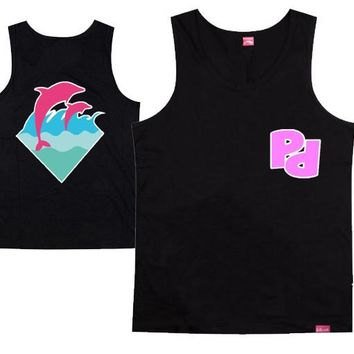 pink dolphin new hip hop high quality muscle undershirt 100% cotton for men and women  o-neck streetwear plus size xxxl