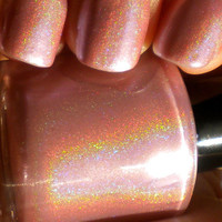 "Pearl Pink Holographic Nail Polish - ""DESERT FLOWER"" - Hand Blended Nail Lacquer- Spectraflair - 0.5 oz Full Sized Bottle"