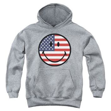 Smiley World - American Flag Face Youth Pull Over Hoodie