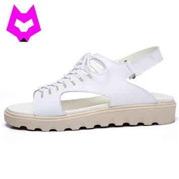Wolf Who Summer platform Sandals Shoes woman Gladiator lace-up Genuine leather non slip Sandals  Zapatos Mujer Sandalias