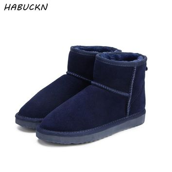 HABUCKN Women  Snow Boots 100% Genuine Cowhide Leather Ankle Boots Warm Waterproof Winter Boots Woman Shoes large size 34-44