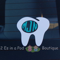 4 inch Dental Monogram Vinyl Decal for Car, Laptop, Tumbler for Dentist, dental assistant, dental hygenist, orthodontist or oral surgeon