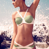 Olive Green and White Color Block Push Up Bikini