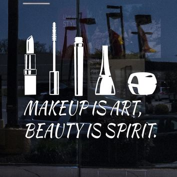 Custom Window Decal Vinyl Wall Decal Beauty Salon Quote Cosmetics Makeup Stickers Unique Gift (ig4507w)