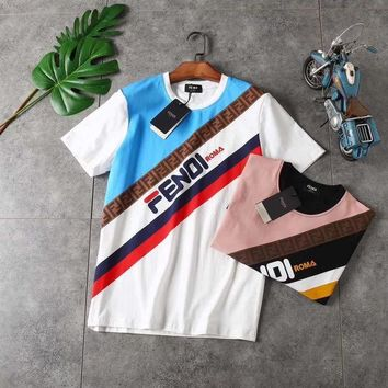Summer FENDI Women Men Casual Print Cotton Top T-Shirts