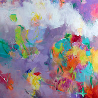 "Colorful Large Abstract Painting Expressionist 30x40 Yellow Purple ""Summer Morning"""