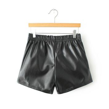 Slim PU Leather Boot Cut Casual Pants Shorts [6047705217]