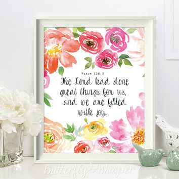 Christian wall art scripture print, Nursery Bible verse wall art, The Lord has done great things for us, Psalm 126:3 framed canvas quote