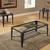 Diamond Slate and Glass Coffee Table Set