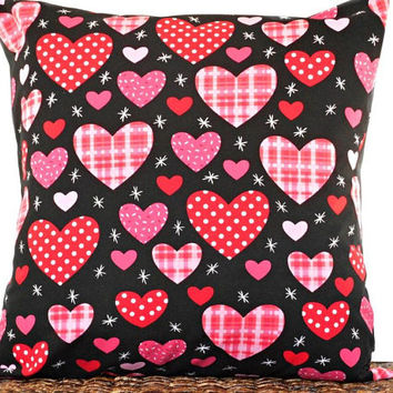 Red Hearts Valentines Pillow Cover Cushion Pink Polka Dots Plaid Black Decorative Valentines Day Decor