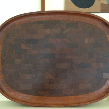 Huge Mid Century Modern Dansk Designs Denmark Jens Quistgaard Inlaid Teak Cutting ot Serving Board Tray Four Ducks