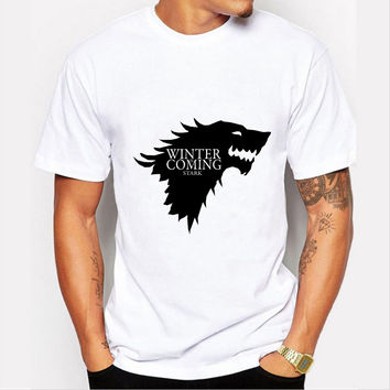 2016 Latest Winter is Coming Print T-shirt Men Fashion Game of Thrones Wolf T shirt Stark Winterfell Tshirt Homme Camiseta