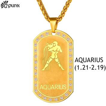 Gold Aquarius Dog Tag Necklace