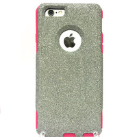 Custom iPhone 6 (4.7 inch) Glitter Otterbox Commuter Cute Case,  Custom  Glitter Silver / Pink Otterbox Color Cover for iPhone 6