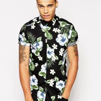 ASOS | ASOS Smart Shirt with Short Sleeve and Hibiscus Print at ASOS