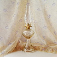 Glass Oil Lamp, Dabs Oil Lamp, Vintage Pressed Glass Light, Hurricane Oil Lamp, Table lamp, Vintage Lantern, Vintage Oil Lamp