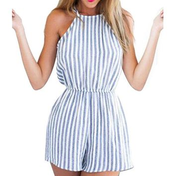 DCCKL3Z Women Clubwear Halter Backless Playsuit Bodycon Party Playsuits Romper S M L XL