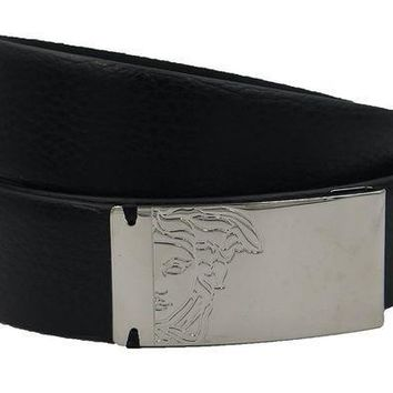 ESBON VERSACE COLLECTION Men's Black Pebbled Leather Gunmetal Medusa Buckle Belt 158