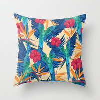 Parrots Throw Pillow by Marta Olga Klara