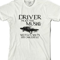 Driver Picks The Music Supernatural-Unisex White T-Shirt