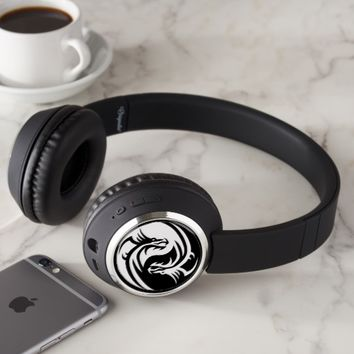 Yin and Yang dragons tribal black and white Headphones