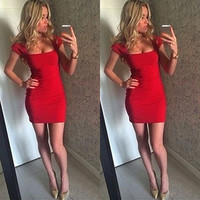 Short Sleeves Square Neck Bodycon Short Dress