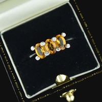Vintage Diamond Citrine White Gold Three Stone Ring