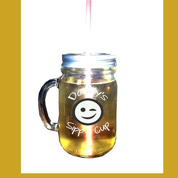 Daddy's Sippy Cup Mason Jar Tumbler**Or Personalize with Any Name **Jar Lid with Straw Opening **Gift for Dad under 20**Mason Jar To Go Cup