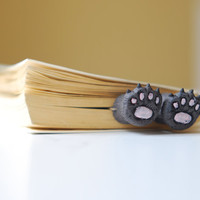 Cat paws .Bear paws in the book.  Unusual art bookmark. Funny gift. cat in book. for child. for her.  oht
