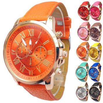 Geneva Casual Roman Numeral Quartz Wrist Watch with PU Leather Band