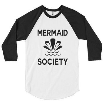 Mermaid Society 3/4 sleeve raglan shirt, boho, t-shirt, top, graphic tee, beach, vacation, spring break, travel, brunch, road trip, getaway