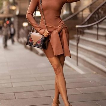 New Khaki Bow Round Neck Long Sleeve Fashion Mini Dress
