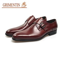 Fashion Buckle Shoes Men Dress Shoes Brown Genuine Leather Male Business Wedding Shoes