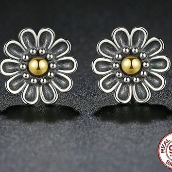 Flowers - Gold and Silver Earrings