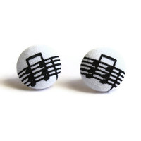 Sheet Music Note Print Fabric Covered Button Earrings NICKEL FREE