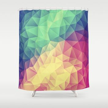 Abstract Polygon Multi Color Cubizm Painting (low poly) Shower Curtain by Badbugs_art