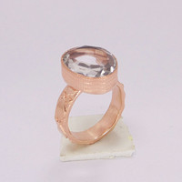 Crystal Quartz Ring - 18K Rose Gold Plated Ring - Delicate Gold Ring - Natural Stone Ring - Faceted Crystal Ring - Healing Crystal Ring