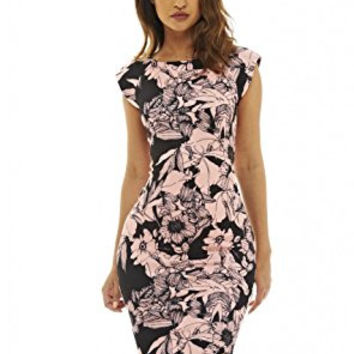 Black Capped Sleeve Floral Pink Print Midi Dress