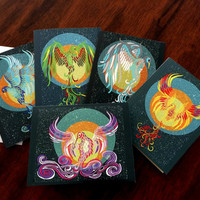 Set of 5 Phoenix folded note cards