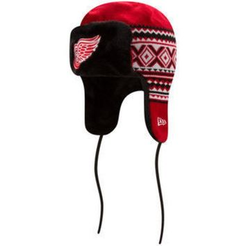 ONETOW NHL Detroit Red Wings New Era Red Team Trim Trapper Knit Hat