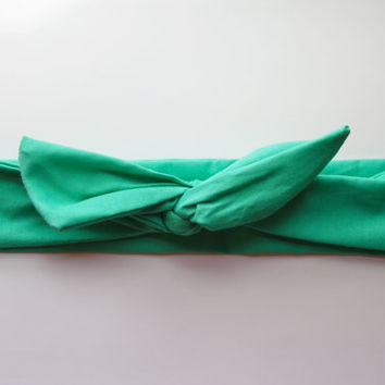 Seafoam Green Dolly Bow Tie Up Wire Headband, Hair Wrap. Teens, Adults, Children's Hair Wraps