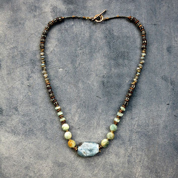 Green Garnet and Kyanite Bohemian Necklace Beaded Jewelry Ethnic Inspired